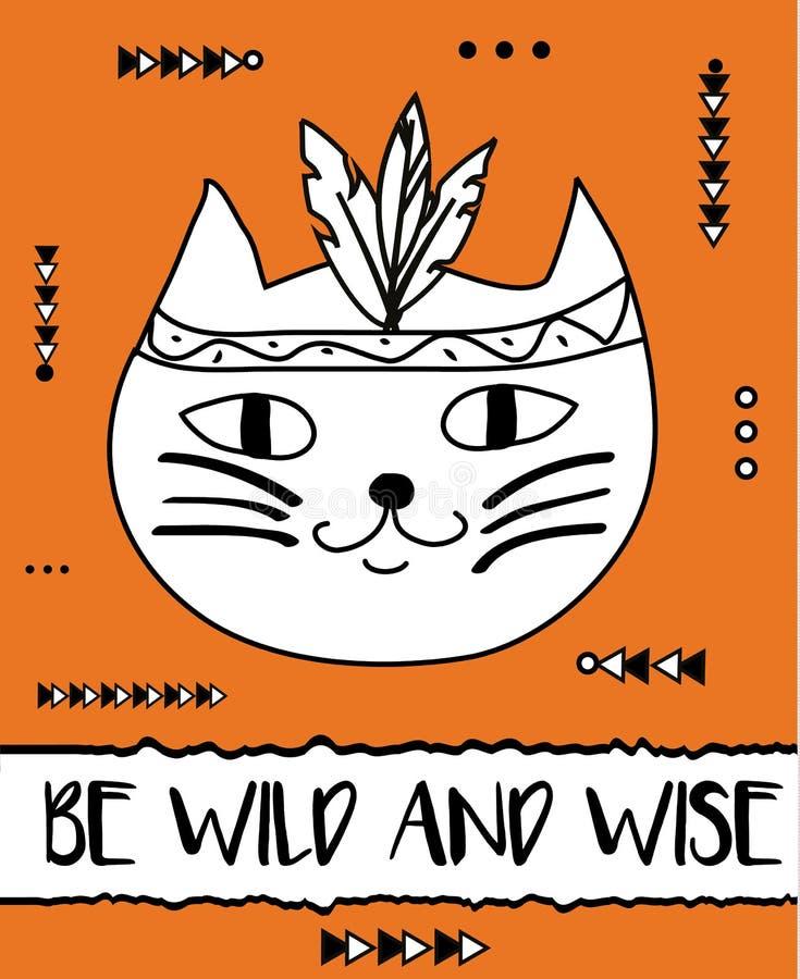 乱画猫boho用羽毛装饰头饰带 现代明信片,飞行物设计模板 部族,森林地贺卡 皇族释放例证