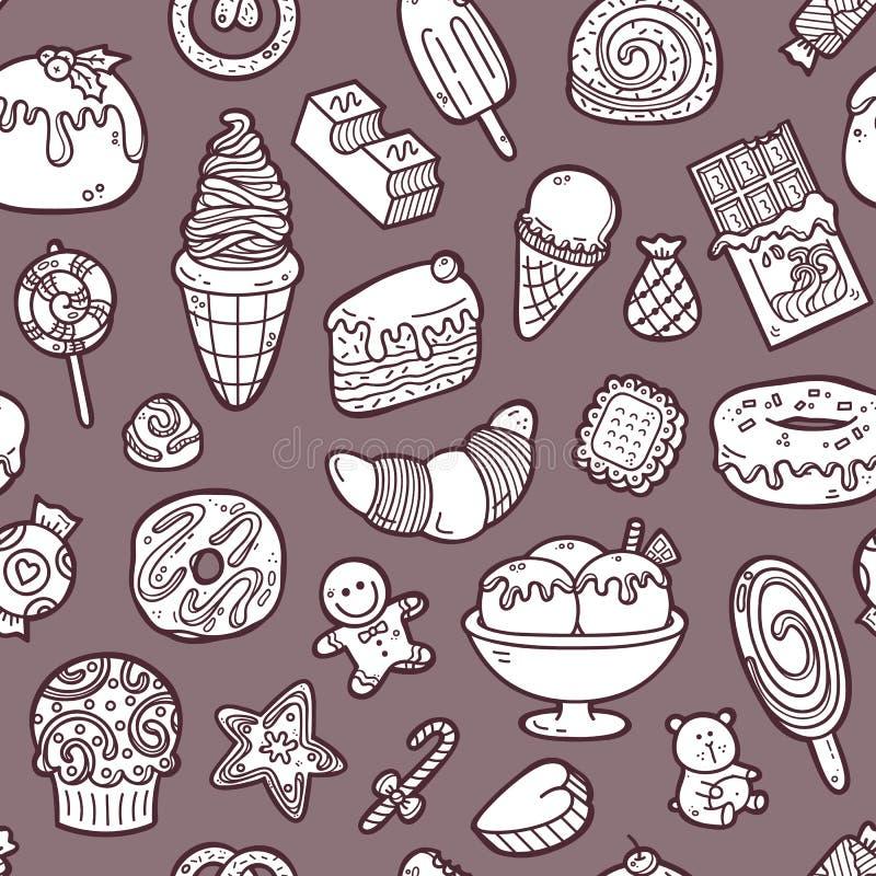 乱画甜点样式 库存例证