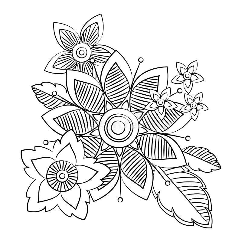 乱画艺术花 手拉的草本设计元素 向量例证