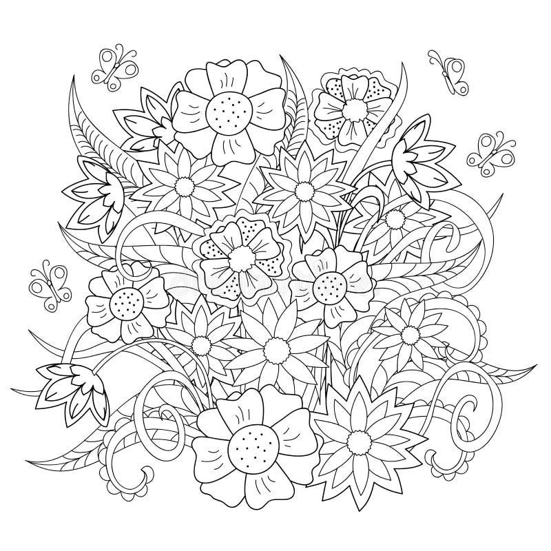 乱画花、草本和蝴蝶 向量例证