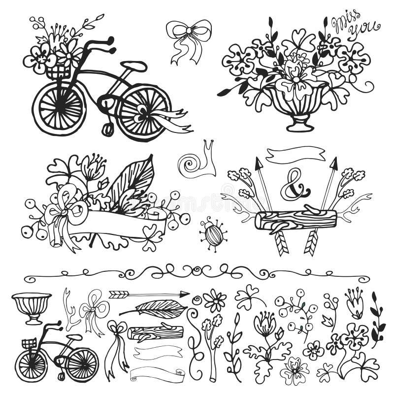 乱画花卉小组,手速写的元素集 分级显示 库存例证