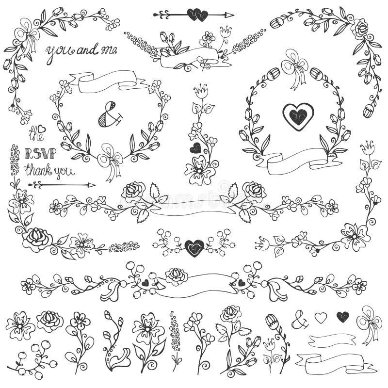 乱画花卉装饰集合 边界,角落,元素 皇族释放例证