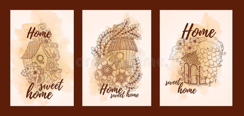 乱画花卉鸟议院 手拉的卡片,美好的家庭字法 皇族释放例证