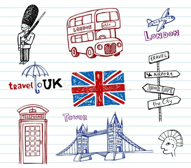 乱画被画的现有量伦敦草图 向量例证