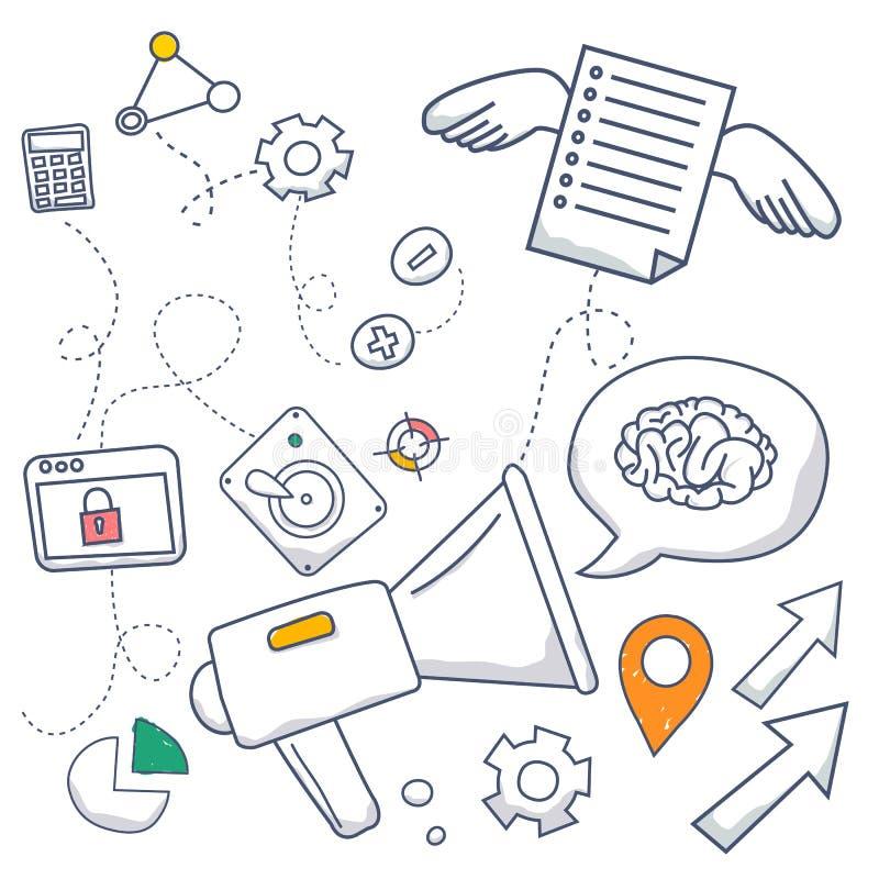 乱画设计美满的行销,行销和分享的样式概念数量 现代我们的线型例证 向量例证