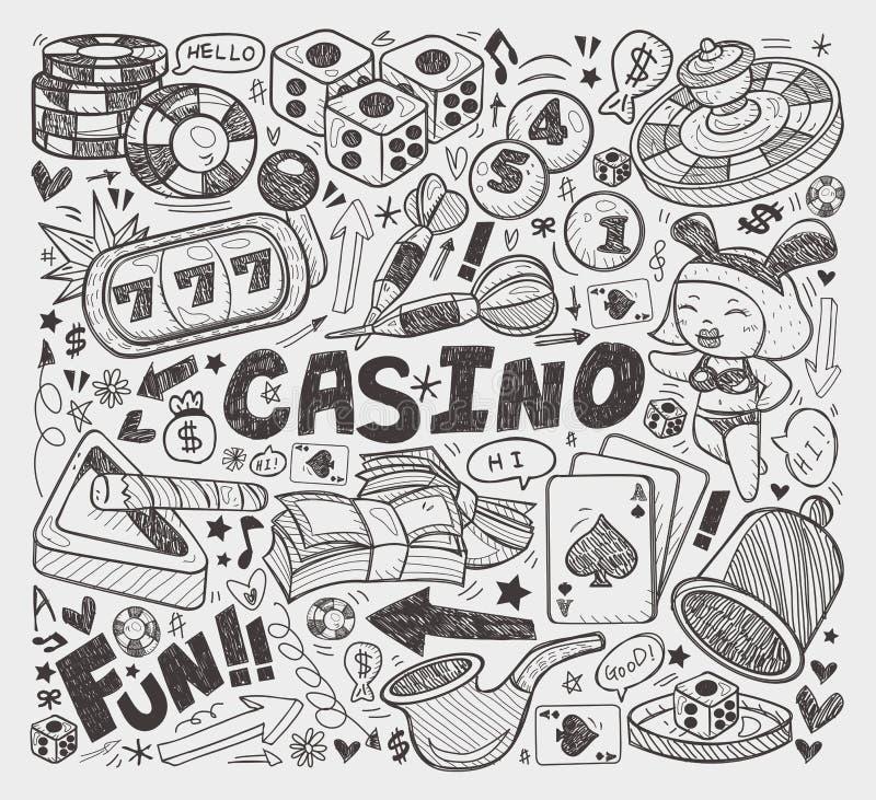 乱画赌博娱乐场元素 库存例证