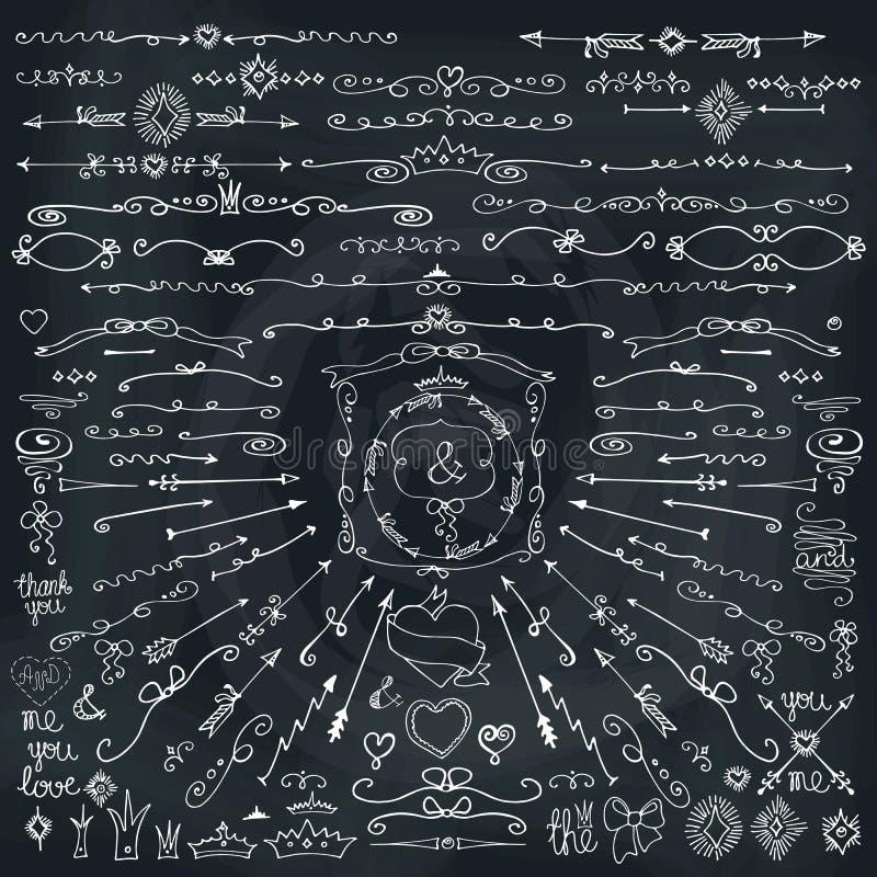 乱画边界,箭头,装饰元素 爱 黑板 库存例证