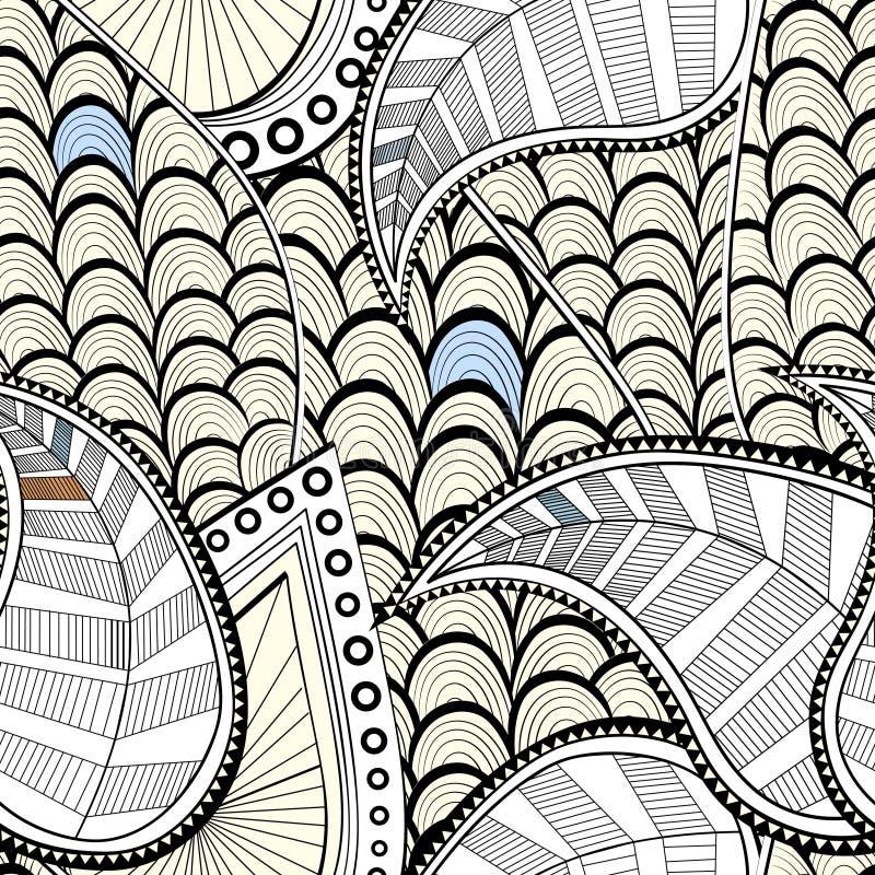 乱画仿造无缝 与叶子和波浪的纹理 也corel凹道例证向量 库存例证