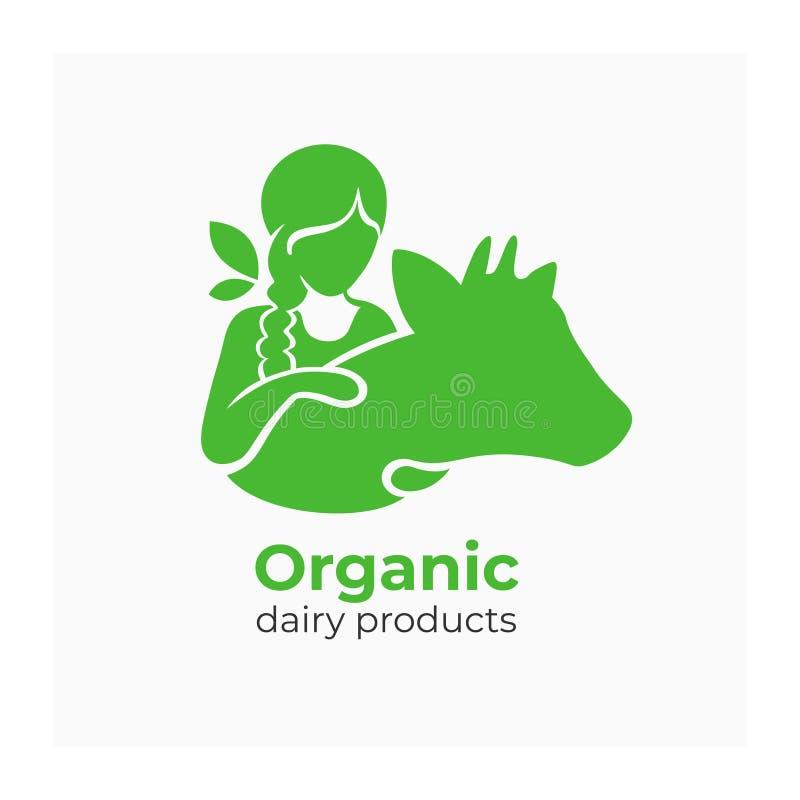 乳制品象 牛奶农厂公司的,生物市场标签 皇族释放例证