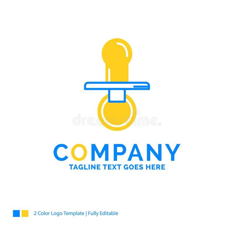乳头,婴孩,钝汉,安慰者,孩子蓝色黄色企业商标te 向量例证