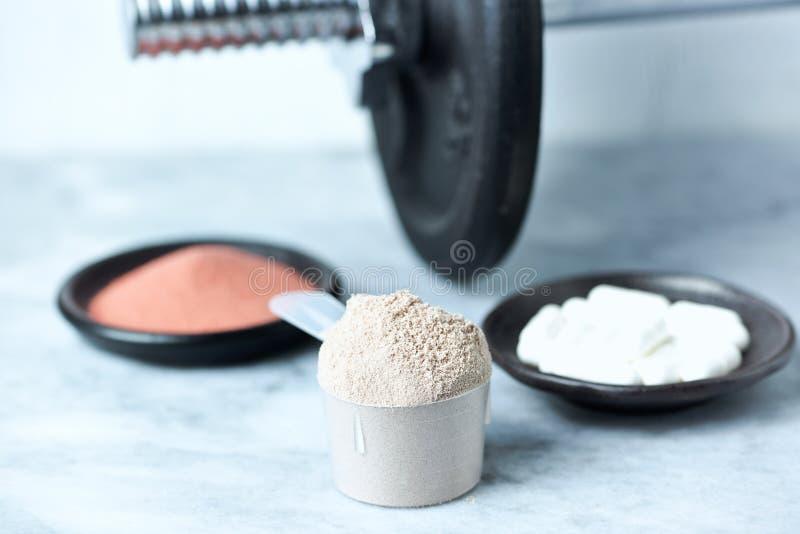 乳清蛋白、Beta胺基代丙酸胶囊、肌酸粉末和一个哑铃瓢在背景中 免版税库存照片