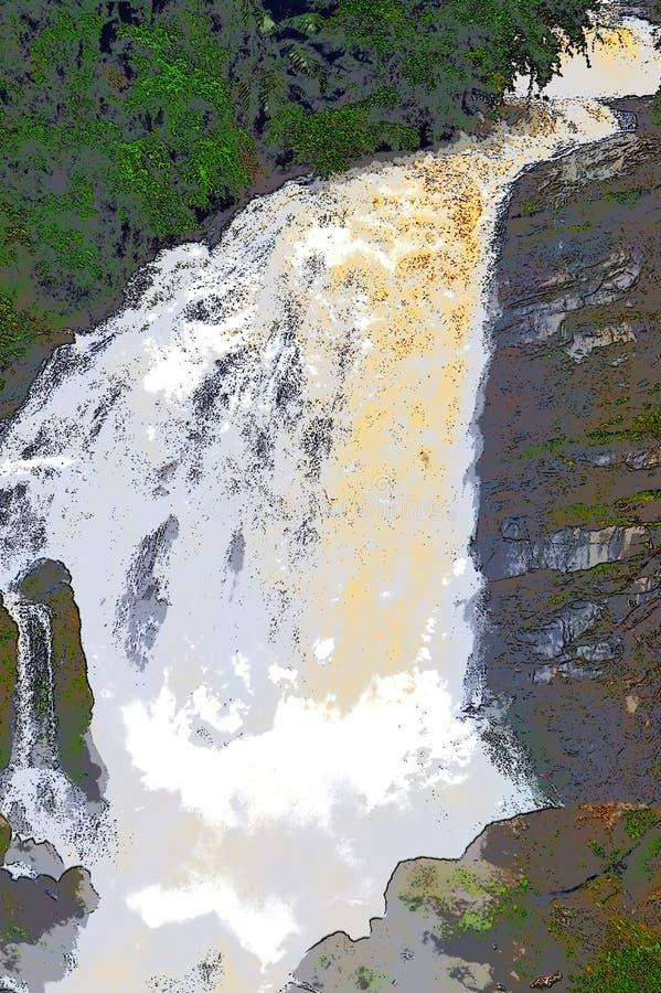 乳状白色水的巨大的瀑布流程在厚实的森林和黑石头-例证里 向量例证