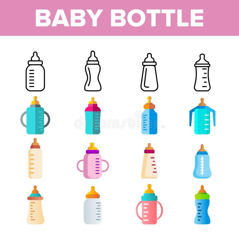 乳瓶,育儿设备传染媒介线性象集合 皇族释放例证