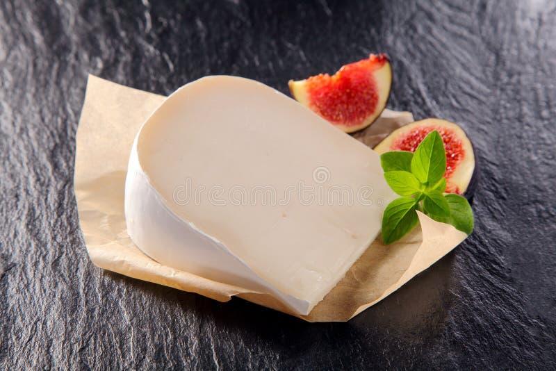乳脂状的充分的乳白色的山羊乳干酪 免版税库存照片