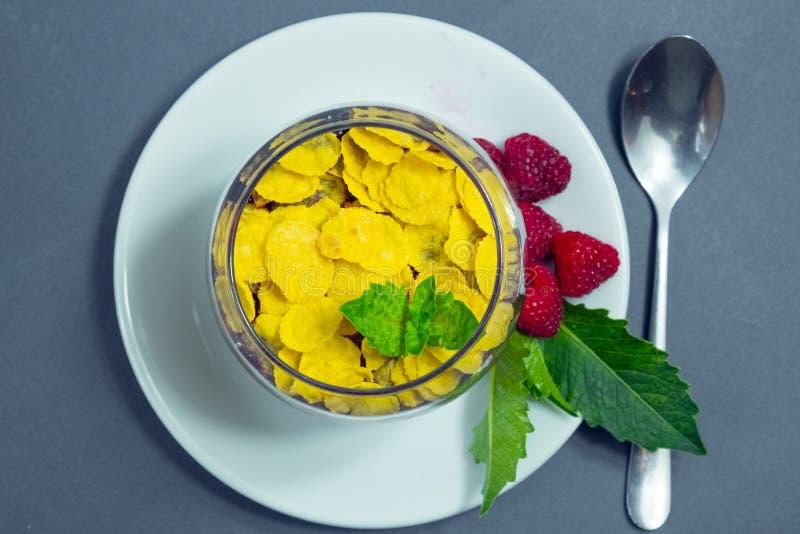 乳脂状的牛奶焦糖用莓和玉米片 免版税库存照片