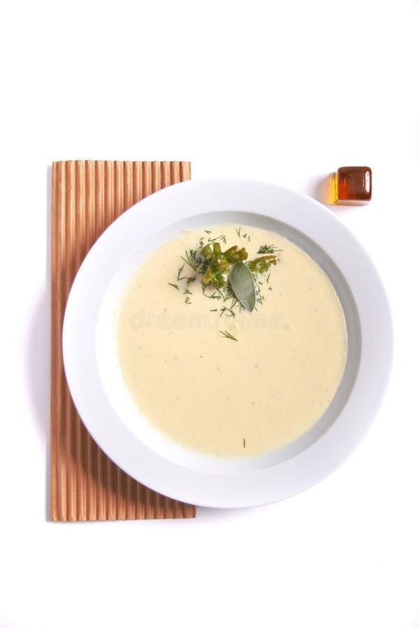 乳脂状的花椰菜汤 E 免版税库存图片