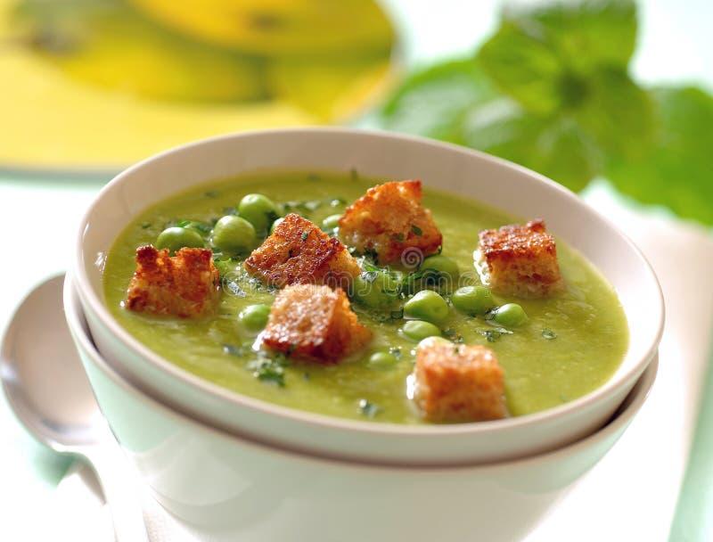 乳脂状的薄荷的浓豌豆汤用油煎方型小面包片 免版税库存照片