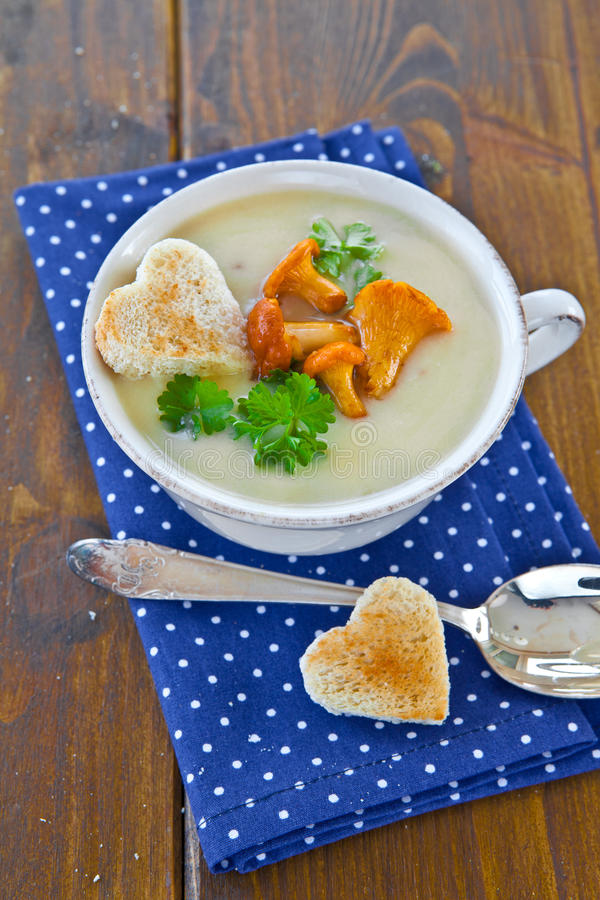 乳脂状的蘑菇汤 免版税图库摄影