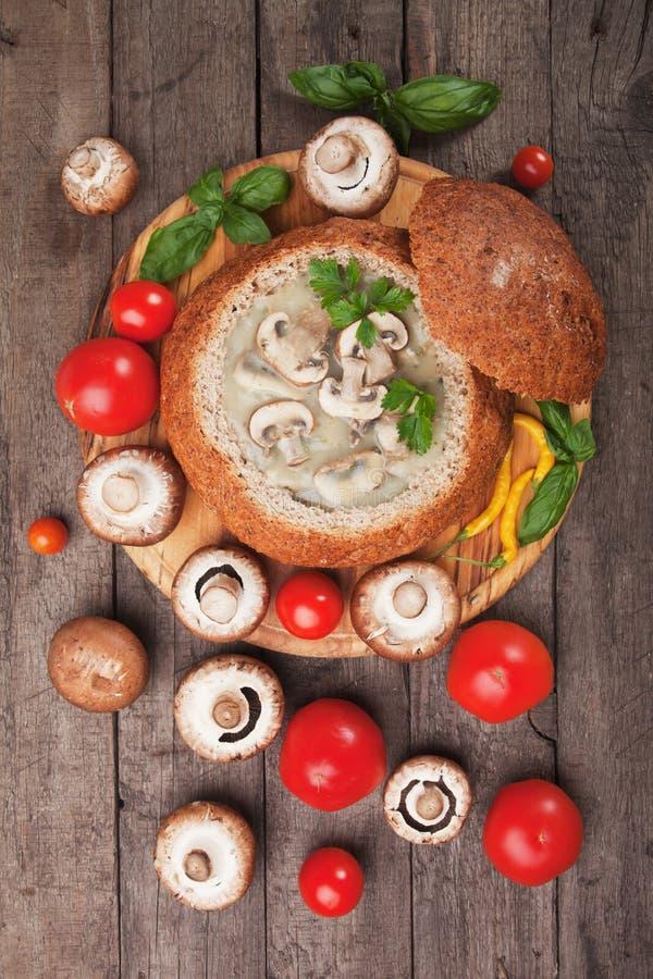 乳脂状的蘑菇汤 免版税库存照片