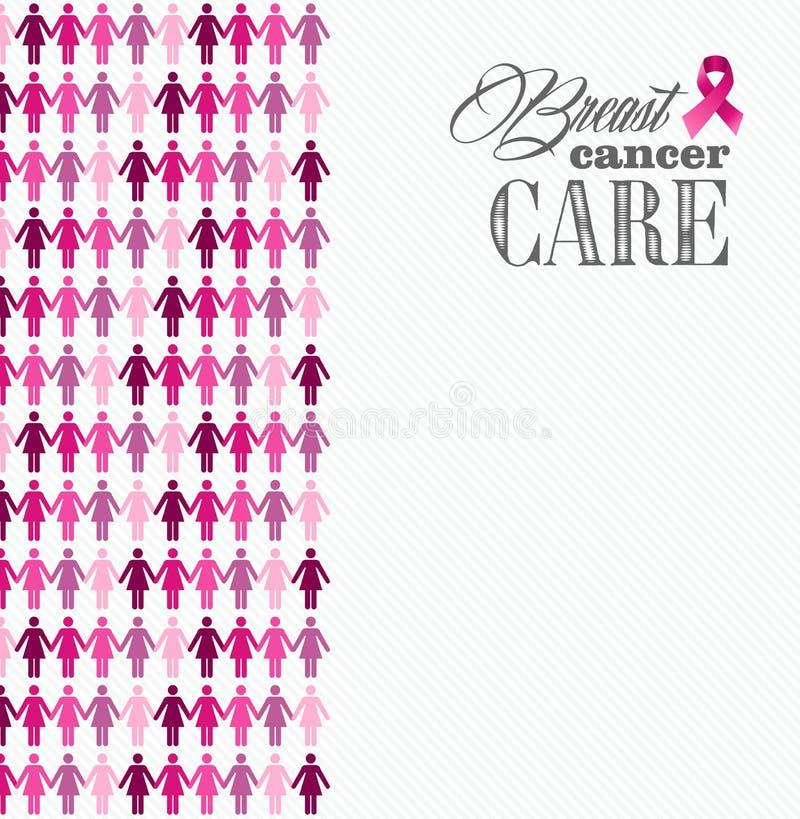 乳腺癌了悟丝带妇女形象混合涂料 皇族释放例证