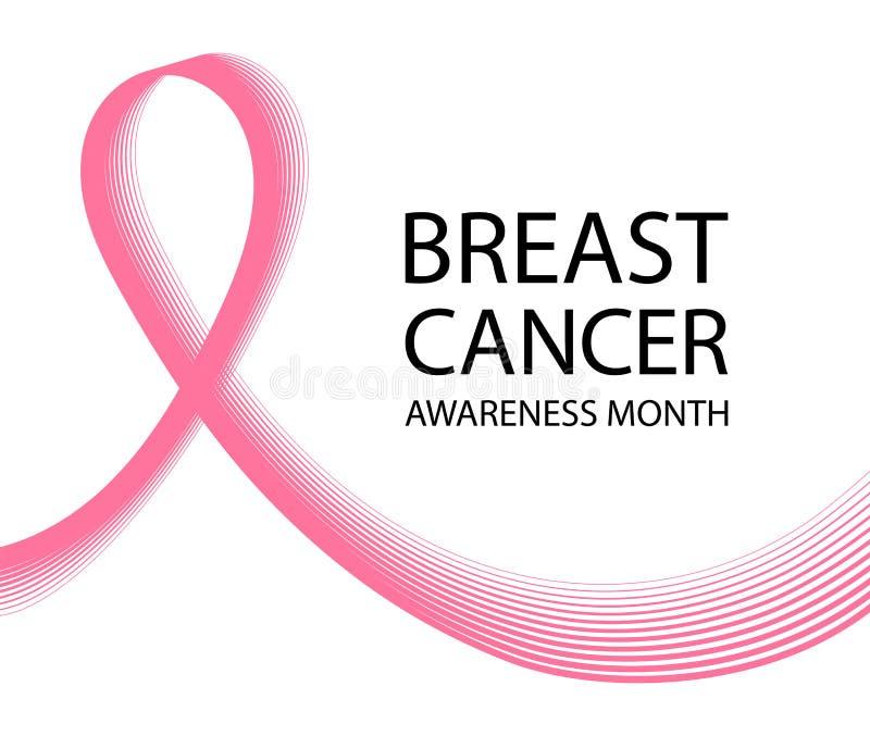 乳腺癌了悟丝带背景 战斗的标志与乳腺癌的 库存例证