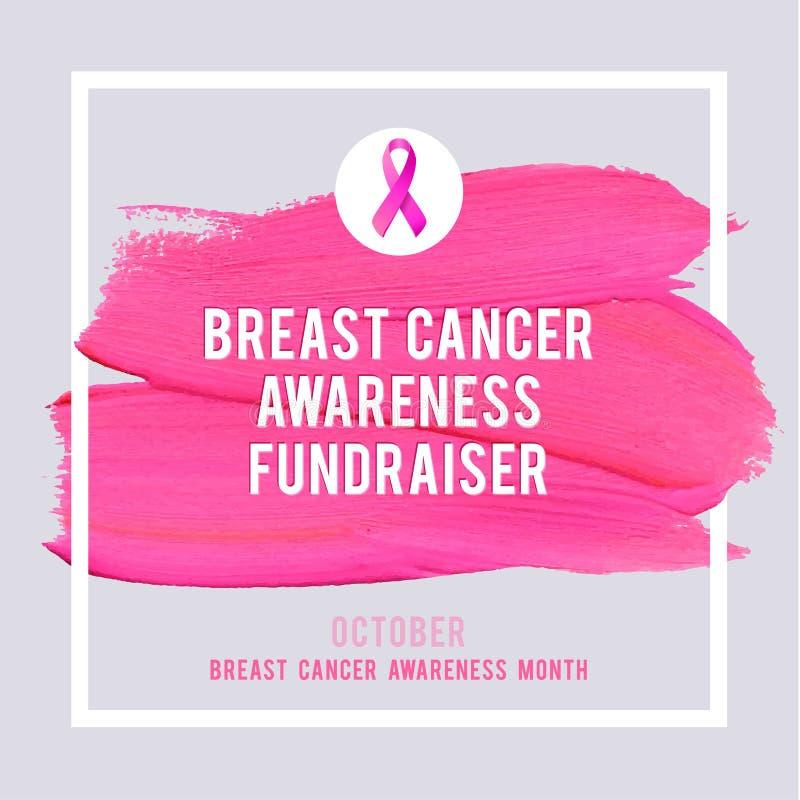 乳腺癌了悟海报 创造性的桃红色刷子冲程和丝绸丝带标志巨蟹星座 库存例证