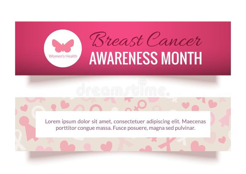 乳腺癌了悟被设置的月横幅 库存例证