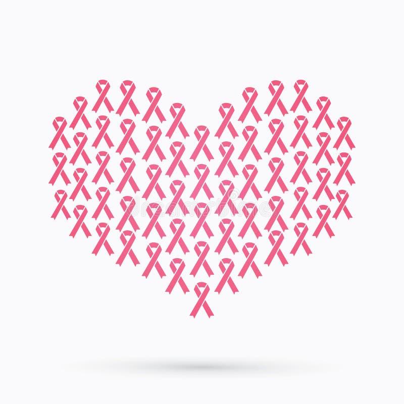 乳腺癌了悟,桃红色丝带,在心脏形状 向量例证
