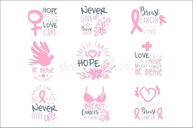 乳腺癌五颜六色的电视节目预告标志设计模板的资金汇集在粉色的以国际巨蟹星座憔悴 库存例证