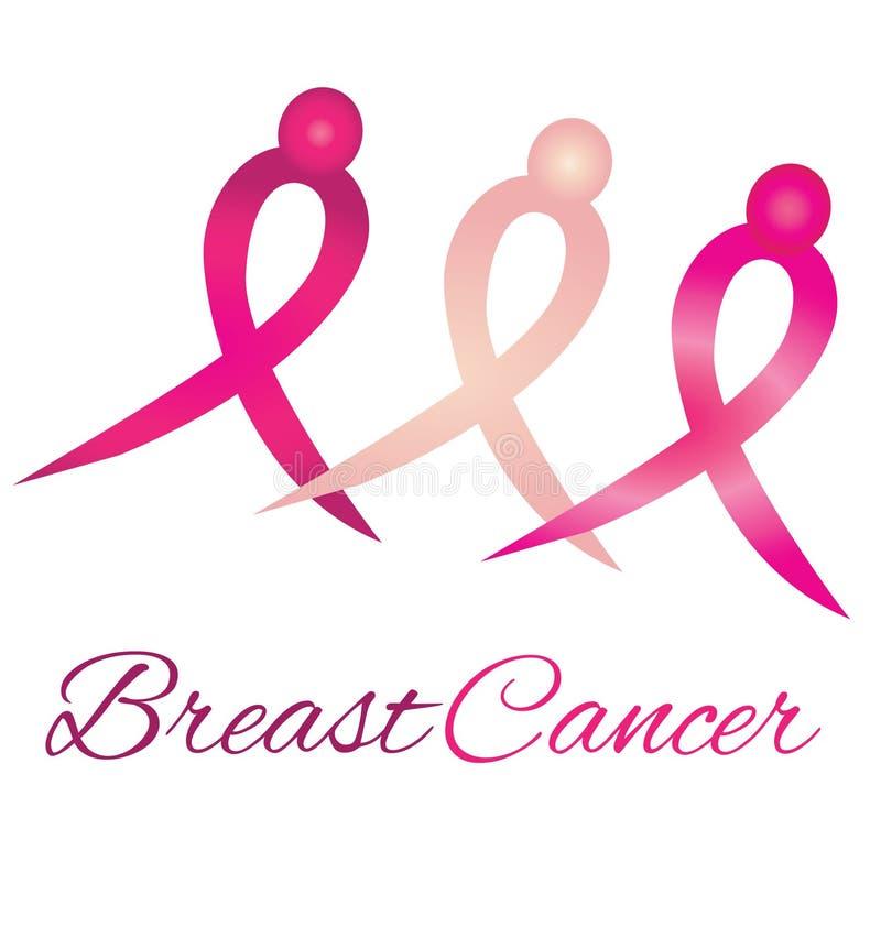 乳腺癌徽标知名度丝带 库存例证
