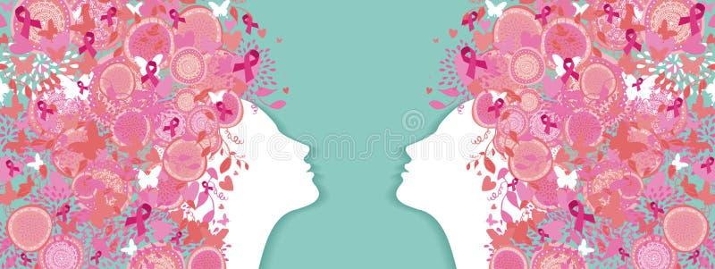 乳腺癌简单的剪影桃红色丝带妇女 皇族释放例证