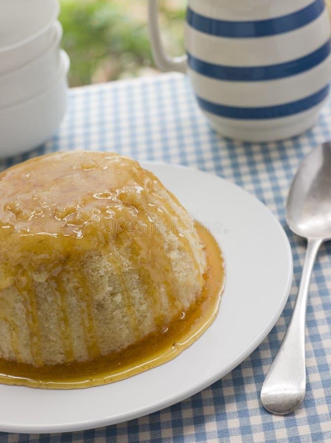 乳蛋糕水罐海绵蒸的糖浆 免版税库存照片