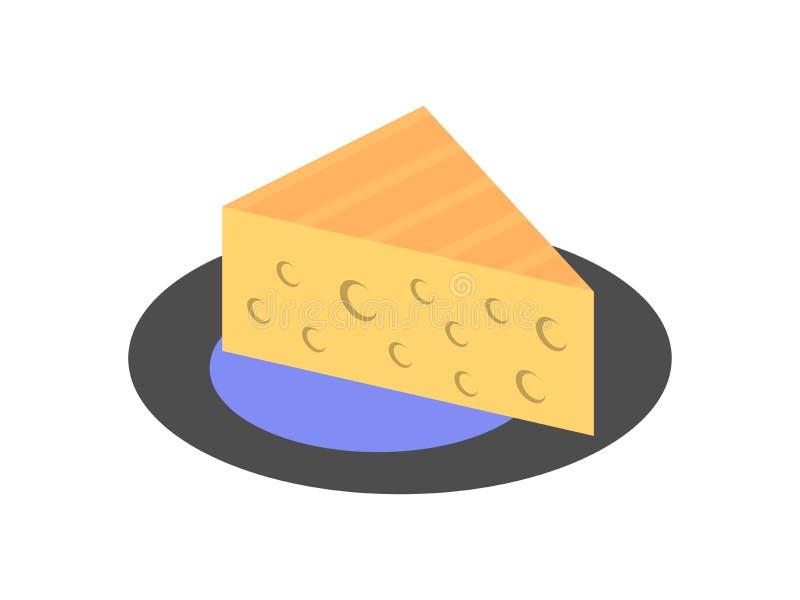 乳酪三角片断与孔象的 背景查出的白色 向量 向量例证