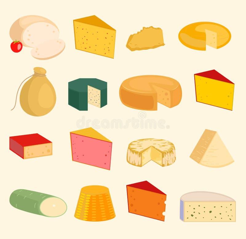 乳酪切和平品种象动画片集合被隔绝的例证 牛奶店乳酪品种食物和牛奶软制乳酪 向量例证