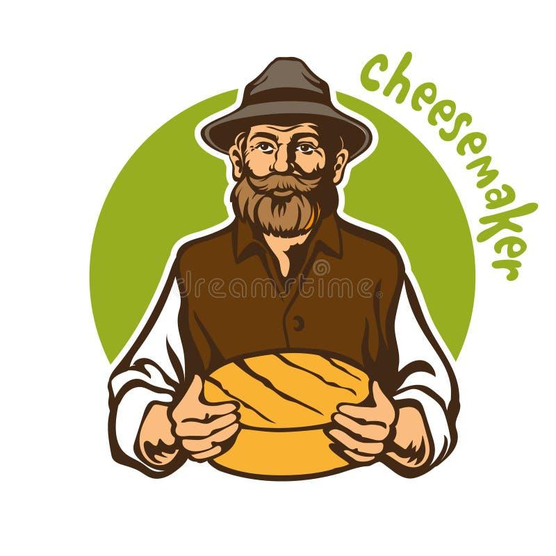 乳酪制造者,农夫,乳酪大面包 向量例证