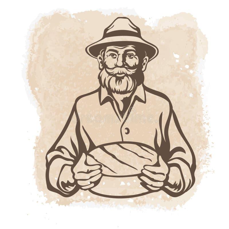 乳酪制造者,农夫,乳酪大面包 皇族释放例证