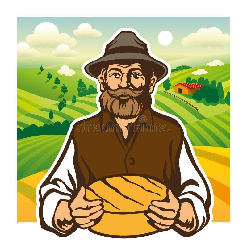 乳酪制造者,农夫,乳酪面包,风景背景 皇族释放例证