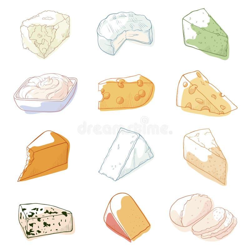 乳酪剪影集合 库存例证