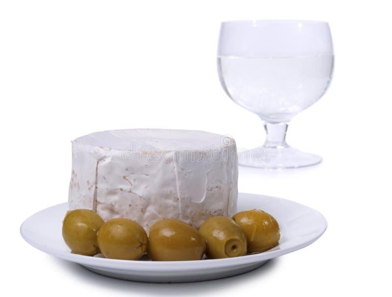 乳酪和橄榄三 库存照片