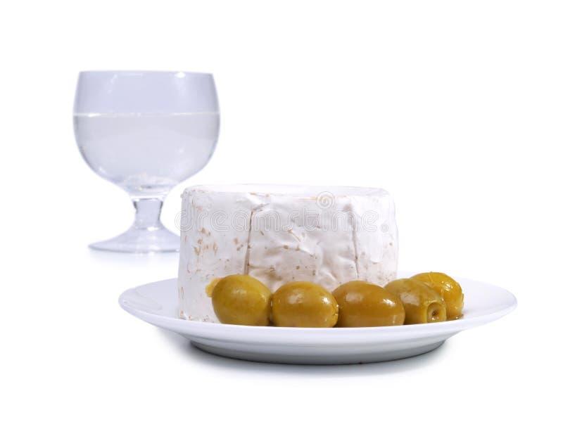 乳酪和橄榄两 免版税库存图片