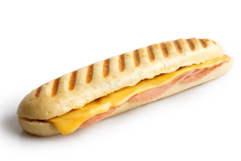 乳酪和火腿敬酒了panini 查出在白色 免版税库存图片