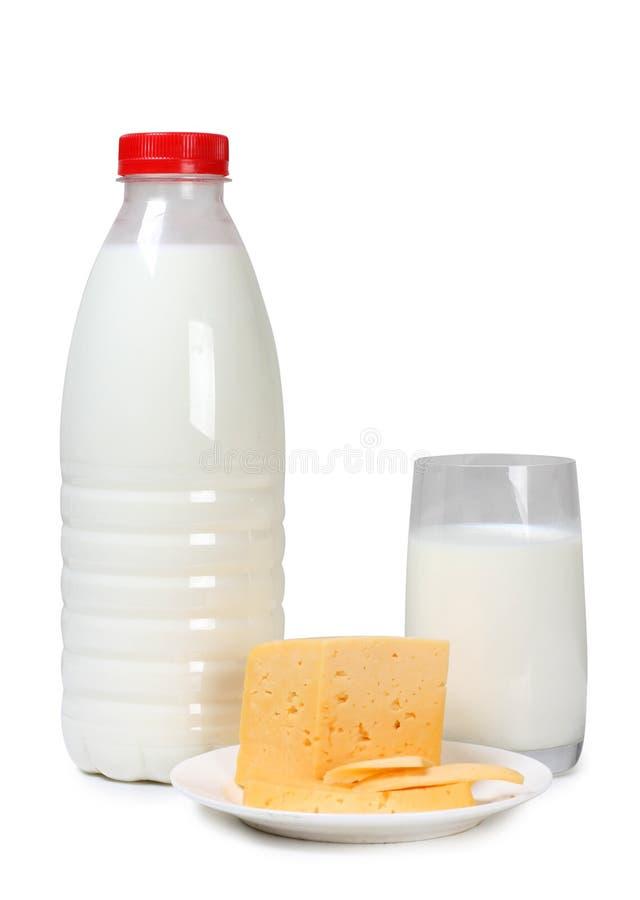 乳酪和白色牛奶 库存图片