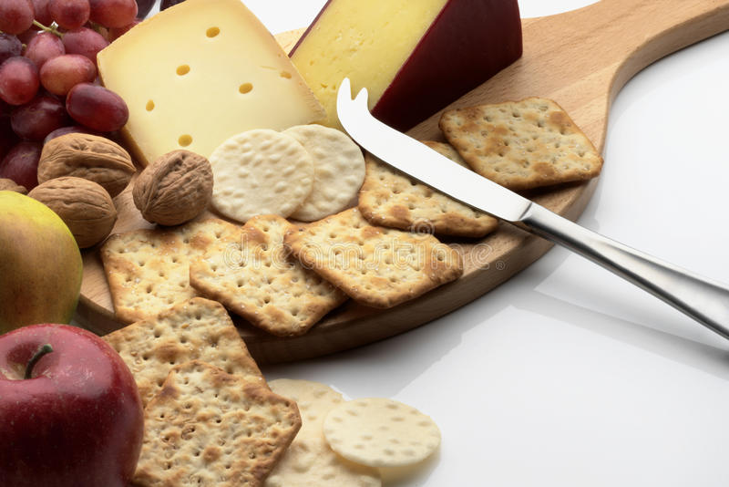 乳酪和薄脆饼干 免版税库存图片