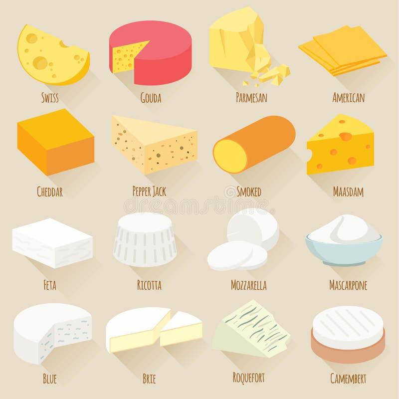 乳酪品种 平的设计传染媒介象集合 库存例证