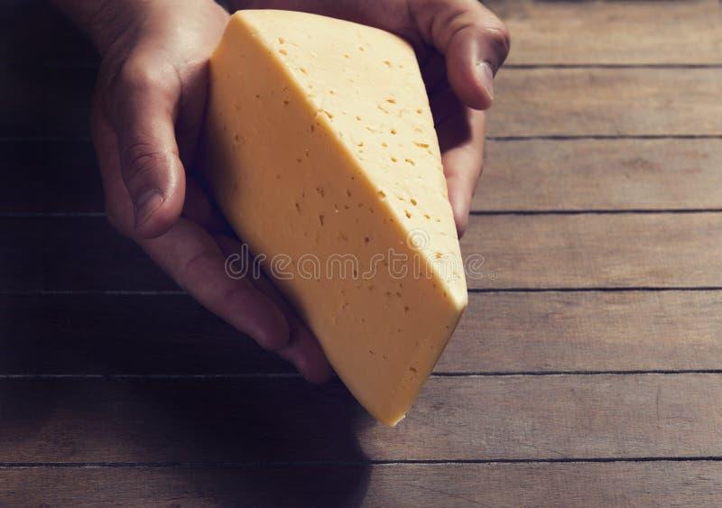 乳酪在手上 库存图片