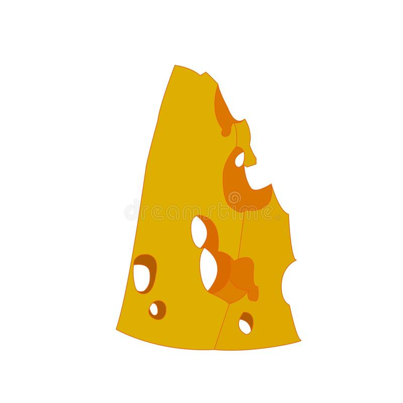 乳酪在白色背景隔绝的传染媒介象 皇族释放例证