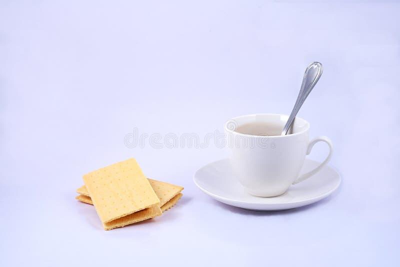 乳酪果子快餐和一杯咖啡在白色背景的 免版税库存照片