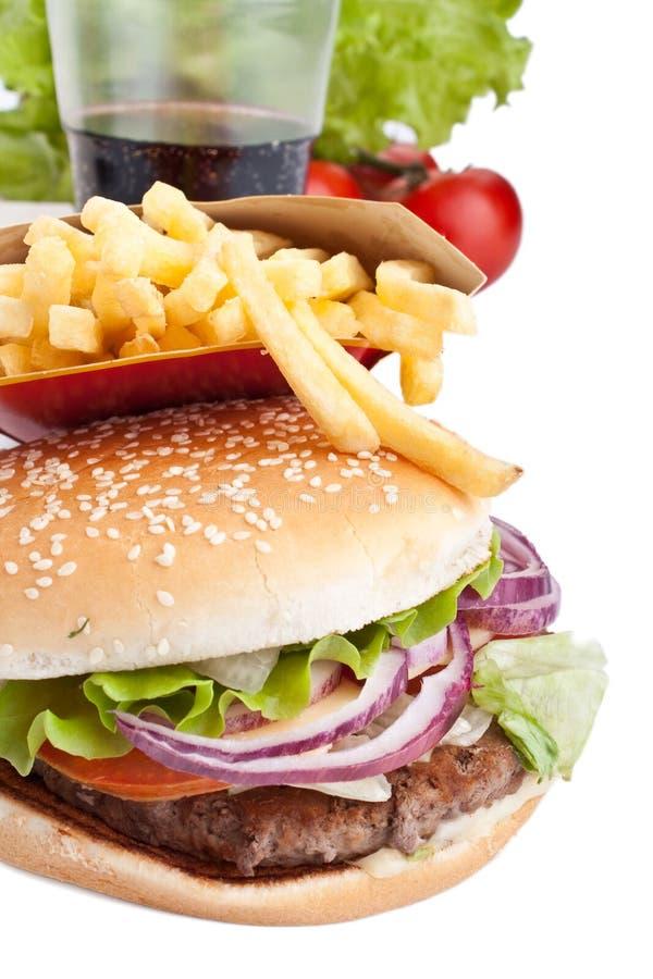 乳酪汉堡可乐炸薯条 免版税图库摄影