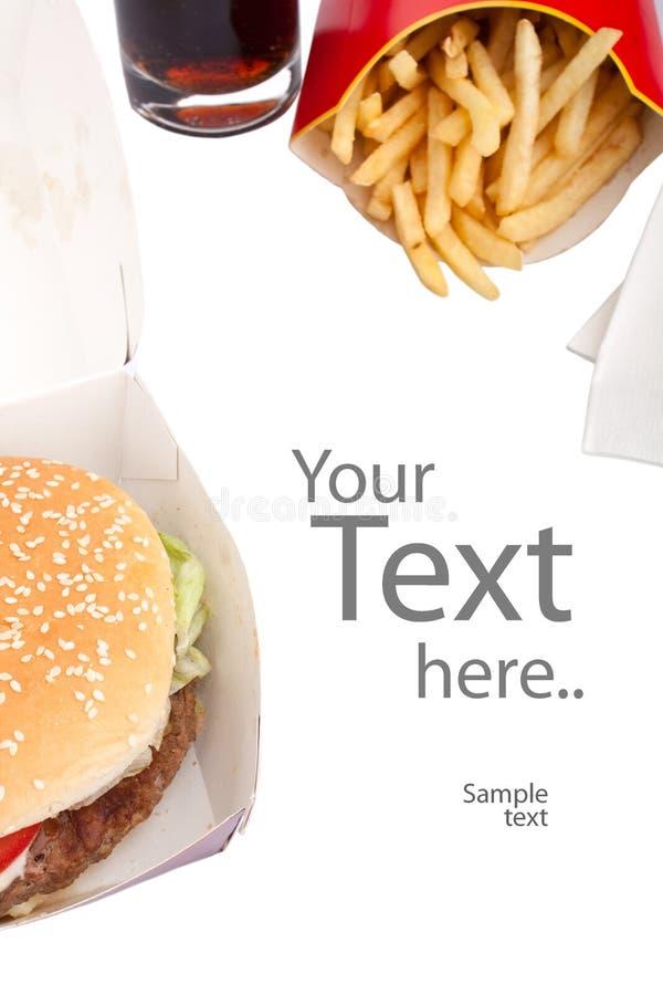 乳酪汉堡可乐炸薯条 库存图片