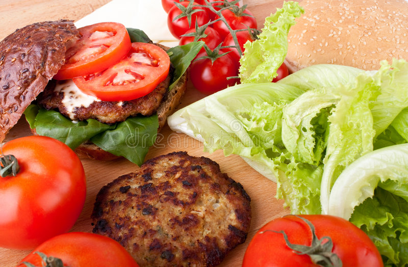 乳酪汉堡成份 免版税图库摄影